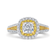 Load image into Gallery viewer, CAU0236EHY-37WY-1.0 Bridal Jewelry Carizza White Gold Rose Gold Yellow Gold Cushion Cut Diamond Double Halo Engagement Rings