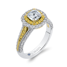 Load image into Gallery viewer, 14K Two Tone Gold Cushion Cut Diamond Double Halo Engagement Ring with Split Shank (Semi Mount)
