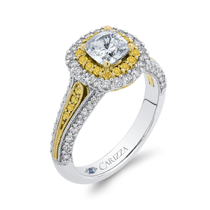 14K Two Tone Gold Cushion Cut Diamond Double Halo Engagement Ring with Split Shank (Semi Mount)