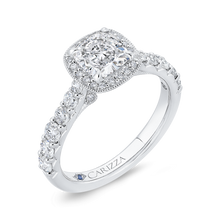 Load image into Gallery viewer, 14K White Gold Cushion Diamond Halo Engagement Ring (Semi Mount)