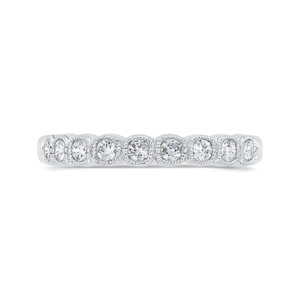 CAU0456BH-37W-1.10 Bridal Jewelry Carizza White Gold Round Diamond Wedding Bands