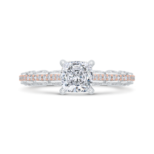 CAU0532EH-37WP-1.00 Bridal Jewelry Carizza White Gold,Rose Gold Cushion Cut Diamond Engagement Rings