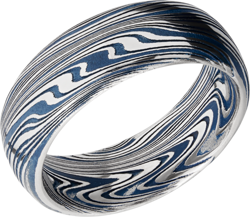 lashbrook cerakote marble damascus steel 8mm domed band d8dbmarble+polish+ridgewayblueall