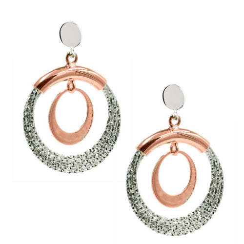 sterling silver rose gold plated denise earrings e1080