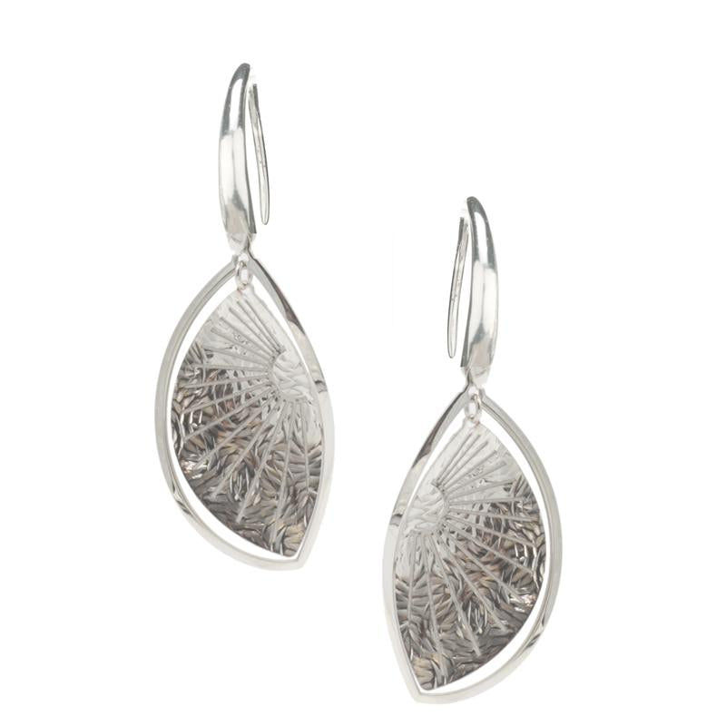 sterling silver sunray leaf earrings e1114