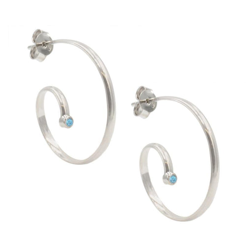 sterling silver blue topaz irradiated swirly hoops e1140