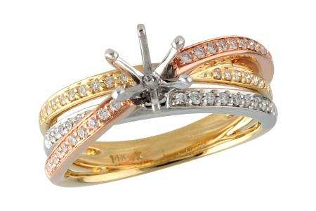 14KT Gold Semi-Mount Engagement Ring - G215-01683_TRI