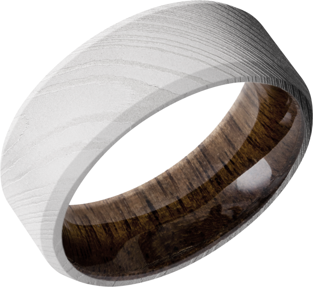lashbrook hw damascus steel 8mm beveled band hwsleeved8b_walnut+bead