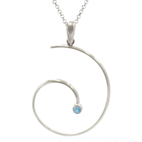 sterling silver blue topaz irradiated swirly necklace ne1140