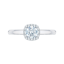 Load image into Gallery viewer, PR0006EC-02W Bridal Jewelry Carizza White Gold Round Diamond Halo Engagement Rings