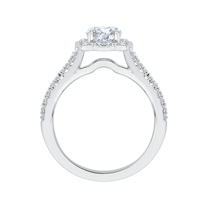 14K White Gold Round Diamond Halo Vintage Engagement Ring