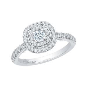 Double Halo Round Cut Diamond Engagement Ring In 14K White Gold
