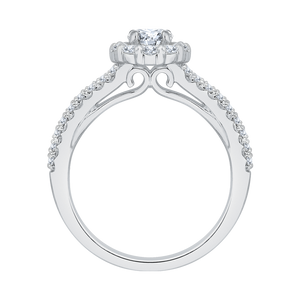 14K White Gold Round Cut Diamond Halo Engagement Ring with Split Shank