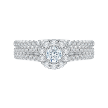 Load image into Gallery viewer, 14K White Gold Round Cut Diamond Halo Engagement Ring with Split Shank