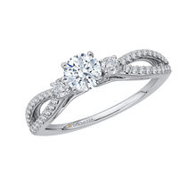 Load image into Gallery viewer, 14K White Gold Round Diamond Engagement Ring with Split Shank