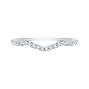 PR0028B-02W Bridal Jewelry Carizza White Gold Round Diamond Wedding Bands