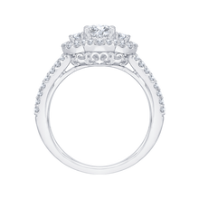 Load image into Gallery viewer, 14K White Gold Round Cut Diamond Three Stone Halo Engagement Ring