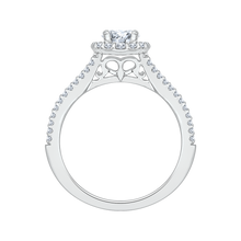 Load image into Gallery viewer, 14K White Gold Round Diamond Halo Engagement Ring with Split Shank