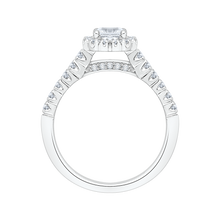 Load image into Gallery viewer, PR0036EC-02W Bridal Jewelry Carizza White Gold Round Diamond Halo Engagement Rings