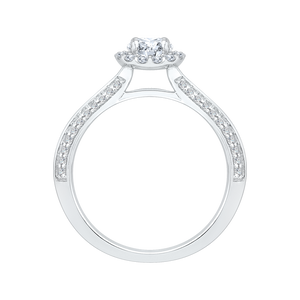 14K White Gold Round Cut Diamond Halo Cathedral Style Engagement Ring