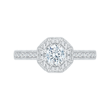 Load image into Gallery viewer, PR0041EC-02W Bridal Jewelry Carizza White Gold Round Diamond Halo Engagement Rings