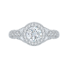 Load image into Gallery viewer, PR0042EC-02W Bridal Jewelry Carizza White Gold Round Diamond Halo Engagement Rings