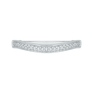 PR0043B-02W Bridal Jewelry Carizza White Gold Round Diamond Wedding Bands