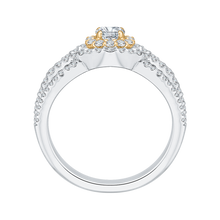 Load image into Gallery viewer, 14K Two Tone Gold Round Diamond Halo Engagement Ring