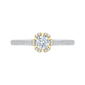 PR0078EC-44WY Bridal Jewelry Carizza White Gold Rose Gold Yellow Gold Round Diamond Engagement Rings