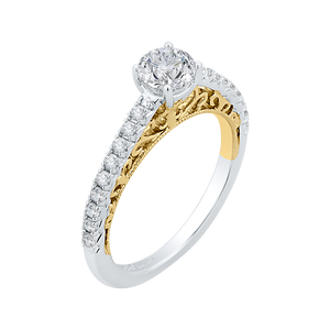 14K Two Tone Gold Round Cut Diamond Engagement Ring