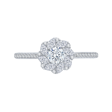Load image into Gallery viewer, PR0090EC-44W Bridal Jewelry Carizza White Gold Round Diamond Halo Engagement Rings