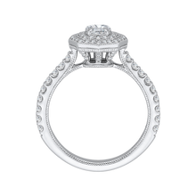 Load image into Gallery viewer, 14K White Gold Round Cut Diamond Octagon Shape Double Halo Engagement Ring