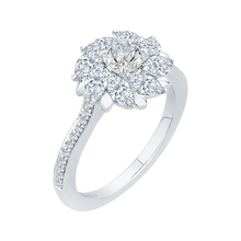 Load image into Gallery viewer, 14K White Gold Round & Marquise Diamond Floral Engagement Ring