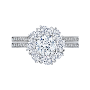 14K White Gold Round & Marquise Diamond Floral Engagement Ring
