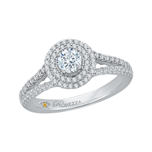 Load image into Gallery viewer, 14K White Gold Round Diamond Double Halo Engagement Ring with Spit Shank