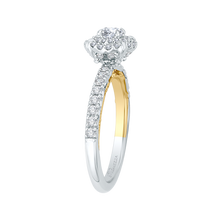 Load image into Gallery viewer, 14K Two Tone Gold Round Diamond Double Halo Engagement Ring