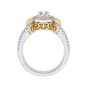 14K Two Tone Gold Round Diamond Double Halo Engagement Ring With Split Shank