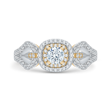 Load image into Gallery viewer, PR0102ECH-44WY Bridal Jewelry Carizza White Gold Rose Gold Yellow Gold Round Diamond Double Halo Engagement Rings