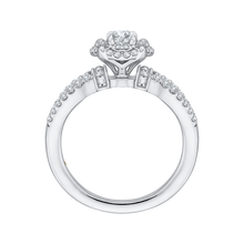 Load image into Gallery viewer, 14K White Gold Round Diamond Double Halo Engagement Ring with Split Shank