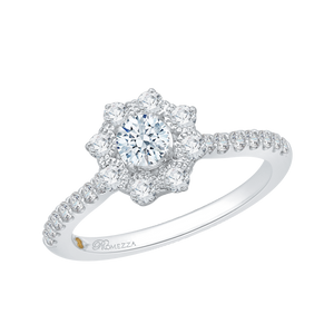 14K White Gold Round Cut Diamond Floral Halo Engagement Ring