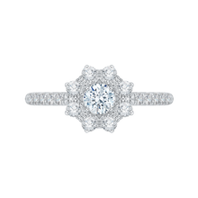 Load image into Gallery viewer, PR0104ECH-44W Bridal Jewelry Carizza White Gold Round Diamond Halo Engagement Rings