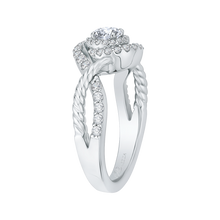 Load image into Gallery viewer, 14K White Gold Round Diamond Criss Cross Halo Engagement Ring