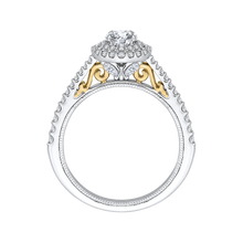 Load image into Gallery viewer, Round Diamond Double Halo Engagement Ring In 14K Two Tone Gold