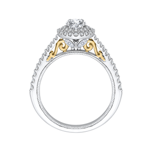 Round Diamond Double Halo Engagement Ring In 14K Two Tone Gold