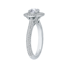 Load image into Gallery viewer, 14K White Gold Round Diamond Double Halo Engagement Ring