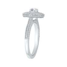Load image into Gallery viewer, Round Diamond Floral Halo Engagement Ring In 14K White Gold