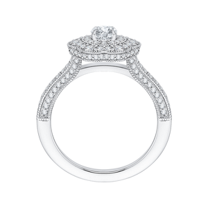 Round Diamond Floral Halo Engagement Ring In 14K White Gold