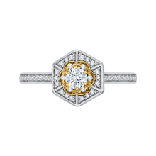 Load image into Gallery viewer, PR0138ECH-44WY-.25 Bridal Jewelry Carizza White Gold Rose Gold Yellow Gold Vintage Round Diamond Engagement Rings