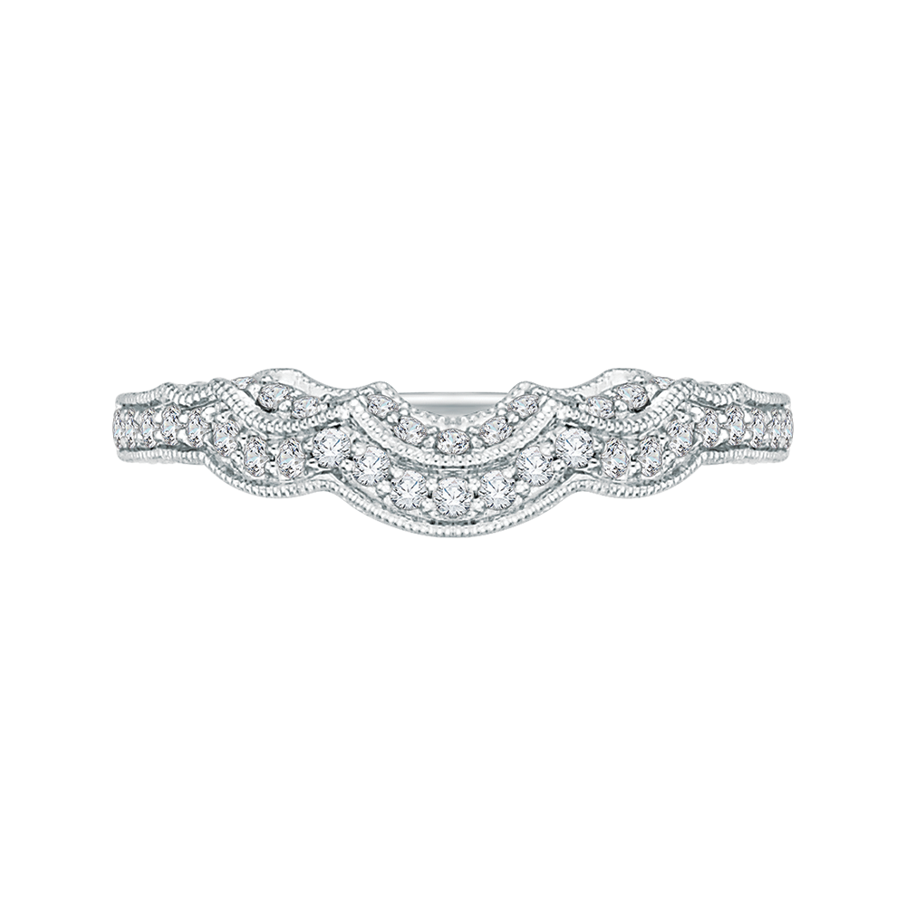 PR0142BH-44W-.33 Bridal Jewelry Carizza White Gold Round Diamond Wedding Bands