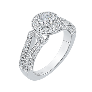 Round Diamond Double Halo Engagement Ring with Split Shank In 14K White Gold